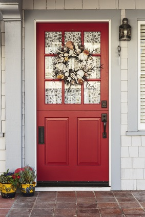 front door with windowChoosing the Best Window Coverings for Front Doors