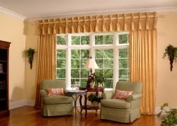 Picture of custom draperies in a picture window