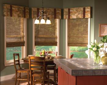 Picture of kitchen windows with easy to clean blinds