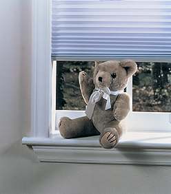 Picture of cordless blinds and teddy bear