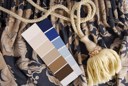Picture of blue curtains and paint swatches